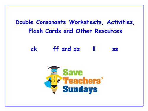 Double Consonants Worksheets Activities Flash Cards and Other – Double Consonant Worksheets