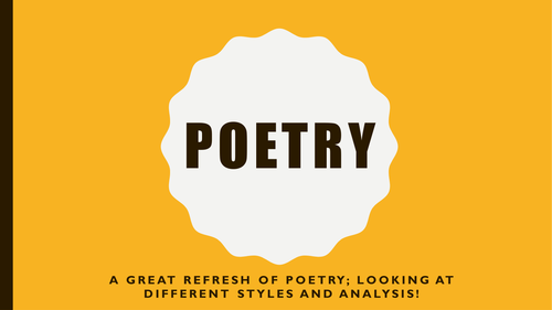 Poetry Powerpoint Presentation KS3