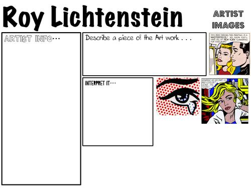 Pop Art- Roy Litchtenstien worksheets
