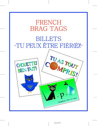 """FRENCH BRAG TAGS / BILLETS """"TU PEUX ÊTRE FIER!"""""""