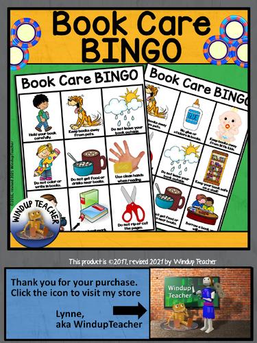 Book Care BINGO - 16 Bingo Cards