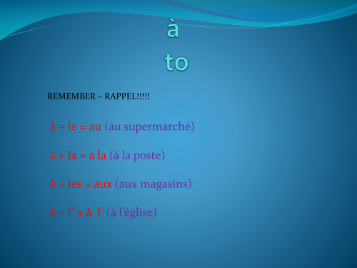 à + definite article in French - Powerpoint including task