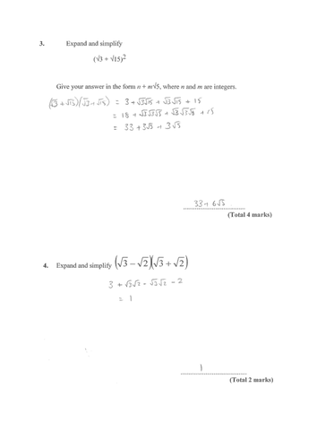 GCSE Maths Calculations using Surds - Fully Resourced