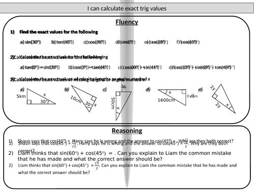 Exact Trig Values Mastery Worksheet By Joybooth Teaching