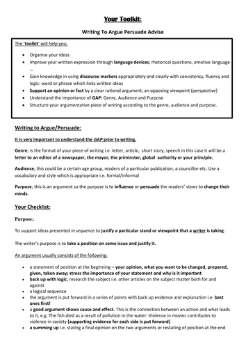 Complete student toolkit for writing to argue/persuade/advise
