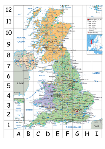 UK map with coordinates and names of cities