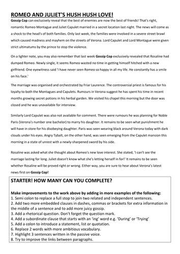 Romeo And Juliet Writing A Gossip Column Expose By  Romeo And Juliet Writing A Gossip Column Expose By Hmbenglishresources   Teaching Resources  Tes