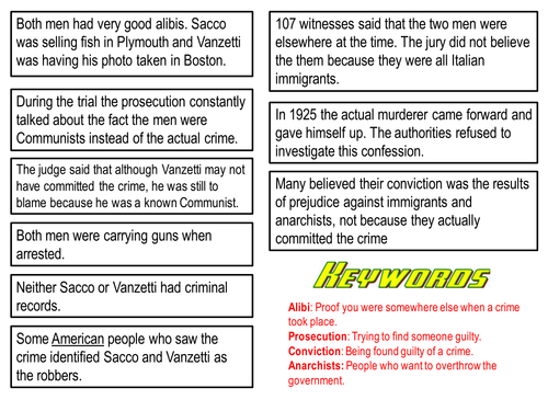 USA Sacco and Vanzetti: AQA New Spec Paper 1D