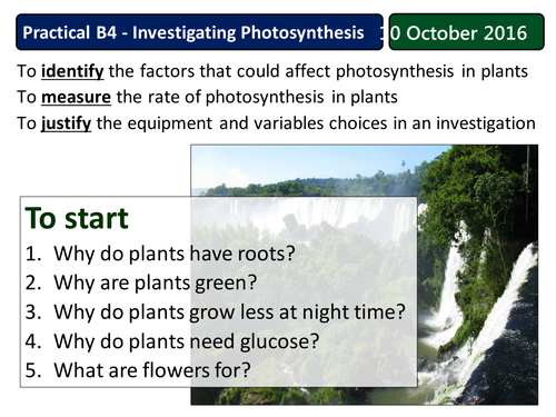 New AQA 2016 Photosynthesis required practical