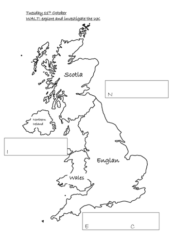 Labelling  Map of UK and surrounding seas initial sounds by