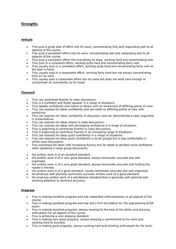 Teacher report writing Comment banks English KS3 KS4