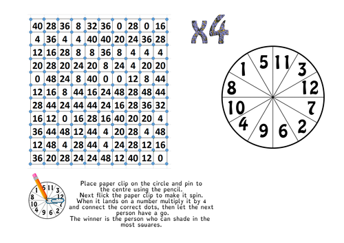 Number Names Worksheets : 4 times table game ~ Free Printable ...