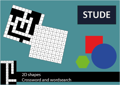 2D shapes wordsearch and crossword