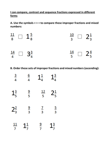compare contrast and sequence mixed numbers and improper fractions  compare contrast and sequence mixed numbers and improper fractions  worksheet by fb  teaching resources  tes