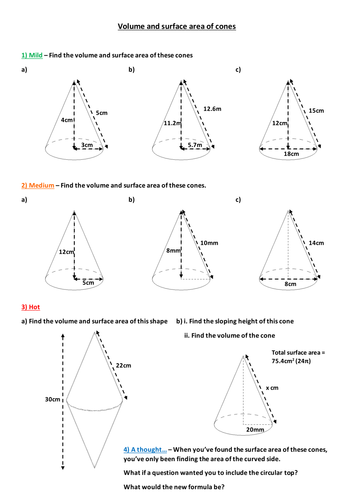 Volume and surface area of cones