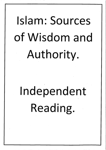 Islam Pre Reading 'Sources of Wisdom and Authority'