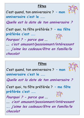 French basics - birthdays/festivals: speaking/listening and reading/writing with differentiation
