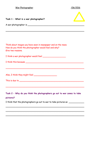 War Photographer - Low Ability Worksheet