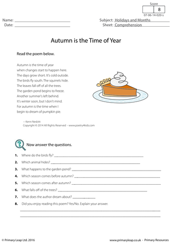 reading comprehension autumn is the time of year by primaryleap teaching resources. Black Bedroom Furniture Sets. Home Design Ideas