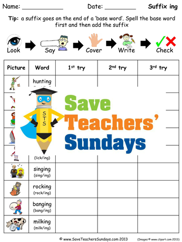 Suffix -ing Words Spelling Worksheets and Dictation Sentences for Year 1