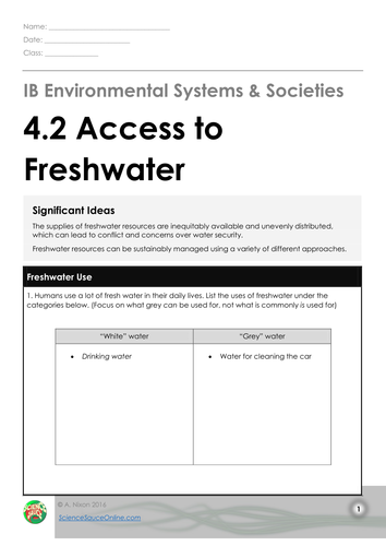 IB ESS - 4.2 Access to Freshwater