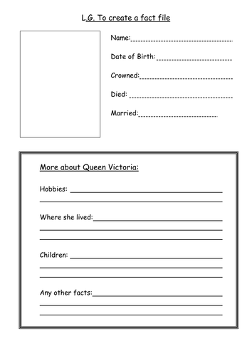 A blank fact file template