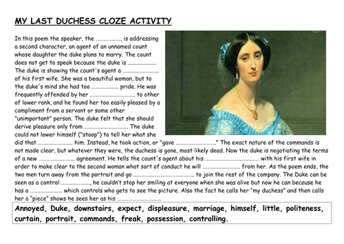 my last duchess questions