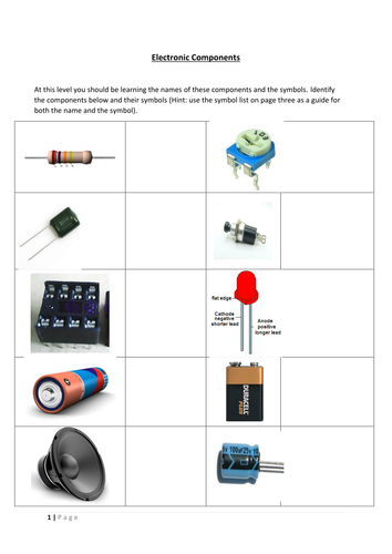 Awe Inspiring Electronic Components Worksheet By Patburke62 Teaching Resources Wiring 101 Orsalhahutechinfo