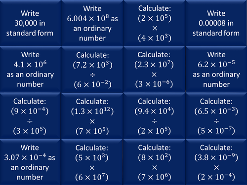 Multiplying and dividing standard form