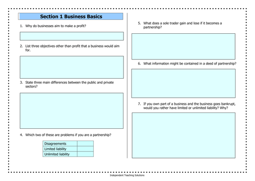 GCSE Business - A range of 8 worksheet sets covering the basics of business (editable)