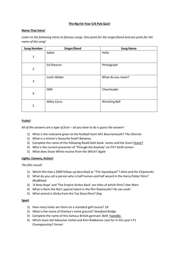 End of the Year Quiz - Year 5 and 6