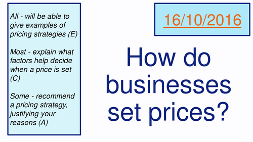 Pricing Strategies (AQA Business Studies)