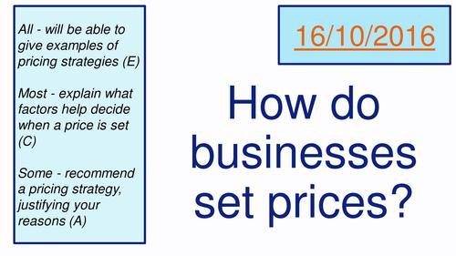 Pricing Strategies (AQA Business Studies)