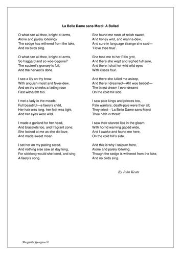 La Belle Dame Sans Merci poem and worksheets