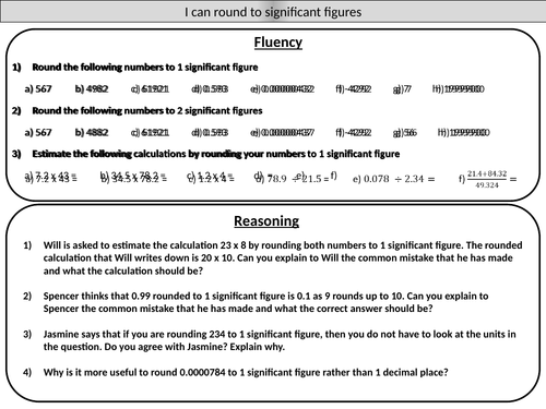 Rounding to significant figures - mastery worksheet by ...