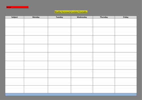 Blank revision/timetable sheet for students to complete.