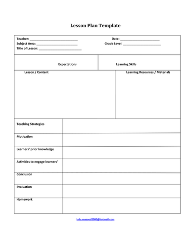 Lesson Plan Template By Jidenglish Teaching Resources Tes - Template of a lesson plan