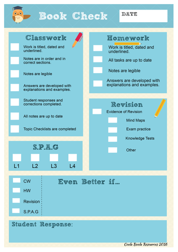 Book Check/ Folder Check sheet