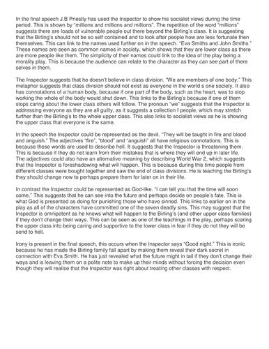 An Inspector Calls - The inspector's final speech sample essays