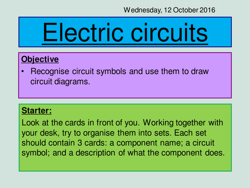 Physics New GCSE 2016 Circuit Symbols Lesson