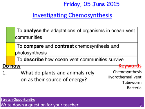 Chemosynthesis -  Comparing chemosynthesis with photosynthesis