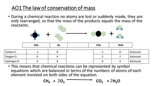 Chemistry, Balancing formula, KS4 NC Chemical Changes