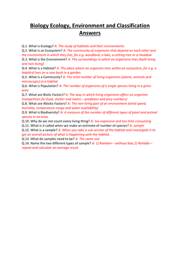 GCSE CCEA DA Science: Biology Unit 1 COMPLETE REVISION