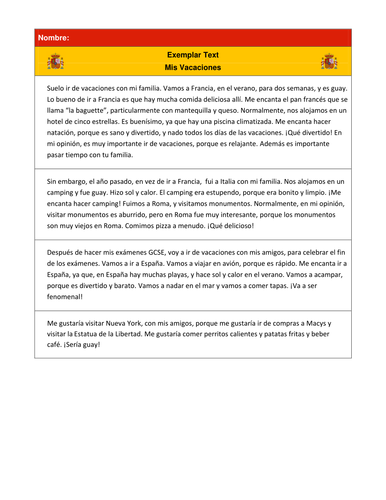 Spanish GCSE Oral  My Holiday   GCSE Modern Foreign Languages