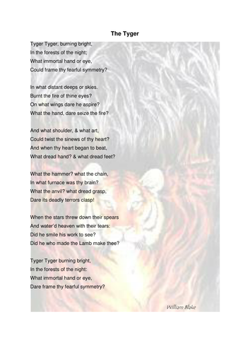 William Blake 'The Tiger/Tyger' poem, tasks and answers