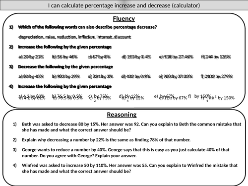 Percentage Increase And Decrease Calculator Mastery Worksheet By