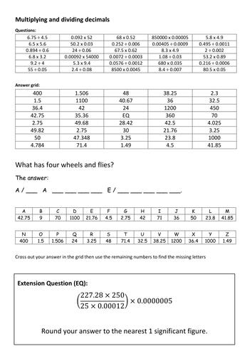 Multiplying and dividing decimals code breaker by mercbenzon ...