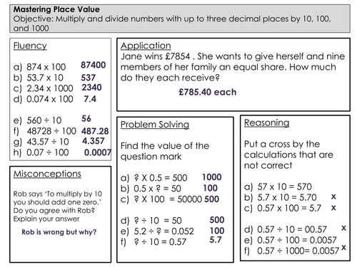 Mastery Maths Place Value multiplying and dividing by 10 100 – Multiplication and Division by 10 100 and 1000 Worksheet