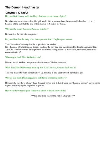 Gillian Cross - The Demon Headmaster - complete half term guided reading