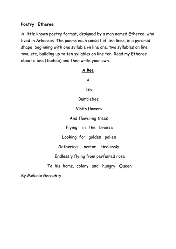 poetry etheree count the syllables to make a perfect pyramid poem